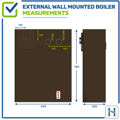 External Wall-Mounted oil boiler with measurements