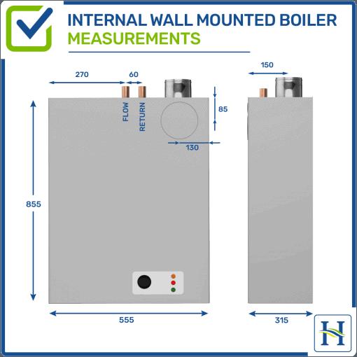 Internal wall mounted oil boiler measurements