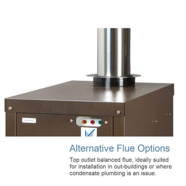 Alternative flue options for Tuscan External Boiler, Hounsfield Boilers