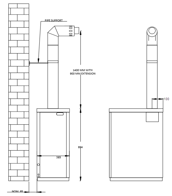 External boiler high level flue plume kit for Tuscan Boilers