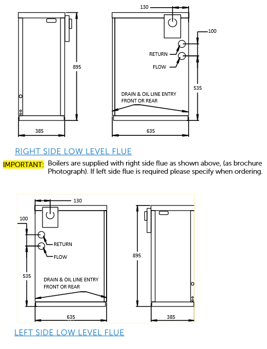 External boiler low level flue options right side or left side