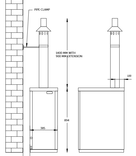 External boiler vertical balanced flue plume kit for Hounsfield Oil Boiler