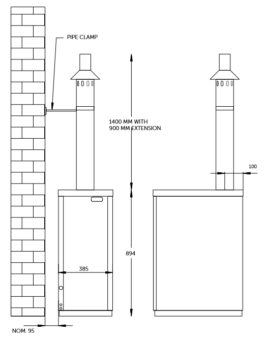 External boiler vertical balanced flue plume kit