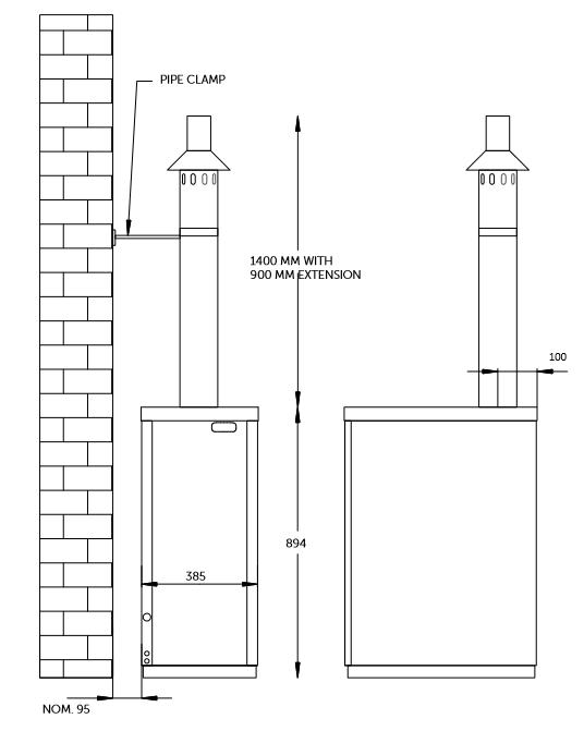 external boiler vertical balanced flue plume kit