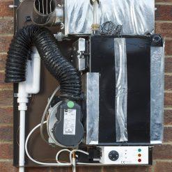 External wall mounted boiler internal view