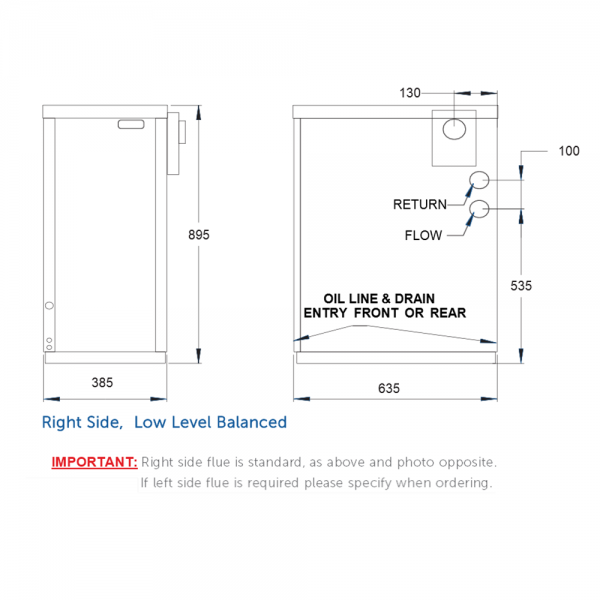 Tuscan External model boiler dimensions, by Hounsfield Boilers