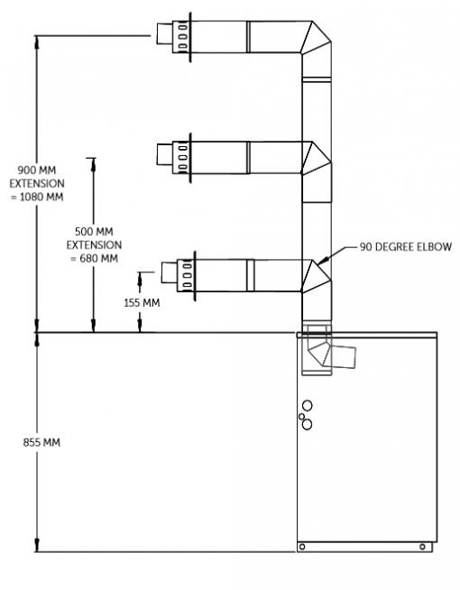 High level horizontal flue FL80HL rear or side outlet