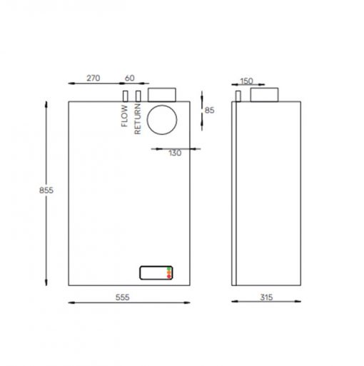 12-19 Internal Wall Mounted Oil Boiler diagram Hounsfield Boilers