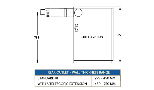 Low level horizontal flues - rear outlet kit