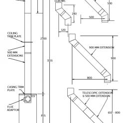 Vertical balanced flue Pt.No. FLO80VT