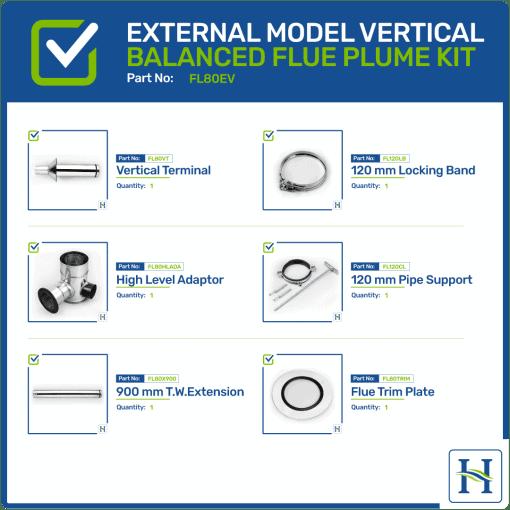 External vertical flue kit FL80EV