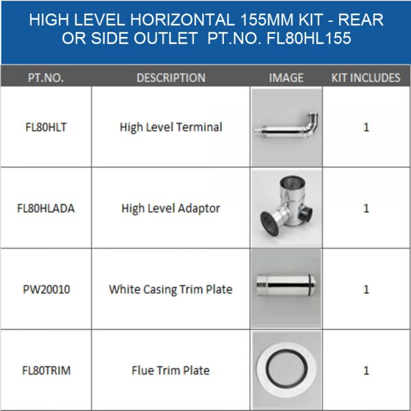 FL80HL155 balanced flue kit 155mm