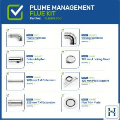 Kitchen Model Balanced Plume Flue Kit 900mm