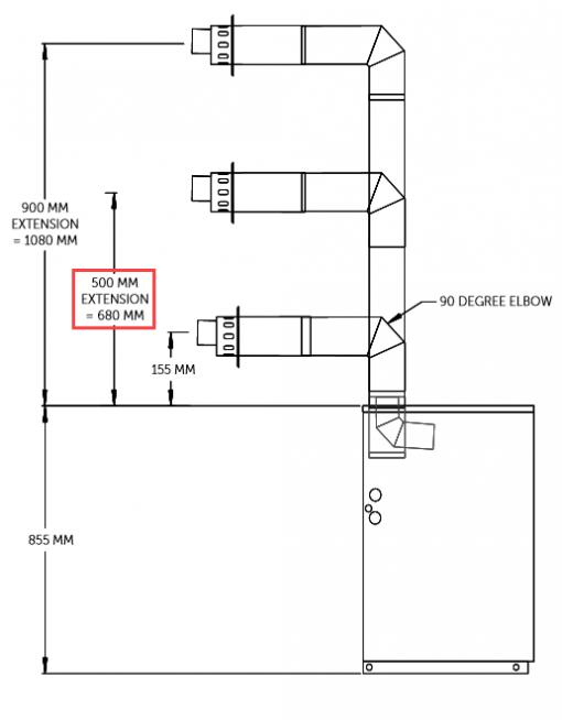 high level horizontal flue 680mm for oil boiler