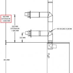 high level horizontal flue outlet 900mm for oil boiler