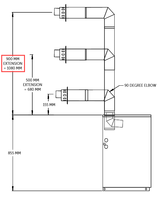 high level horizontal flue outlet 900mm
