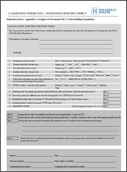 Non-condensing boiler assessment form