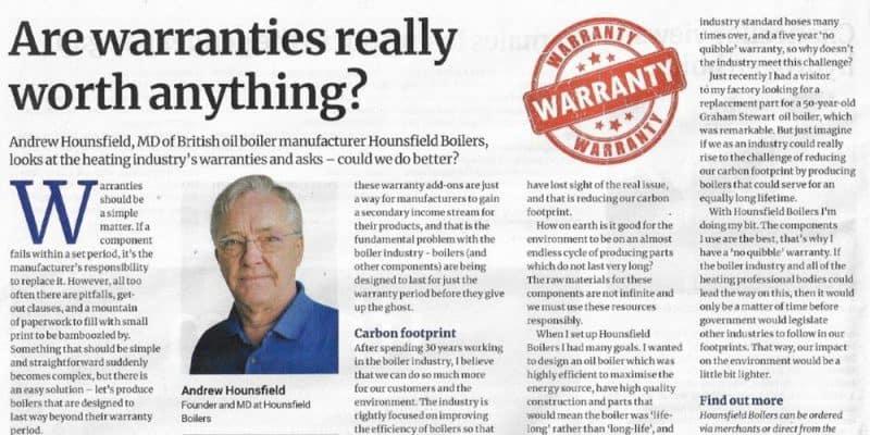 oil boiler warranty - PHAM article