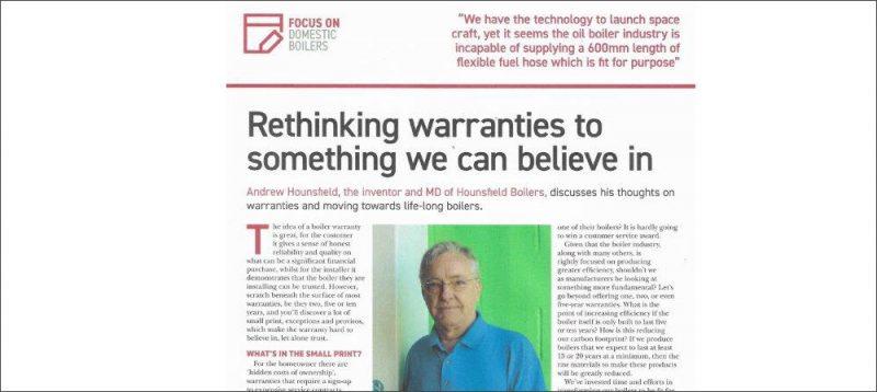 rethinking oil boiler warranties - HPM article