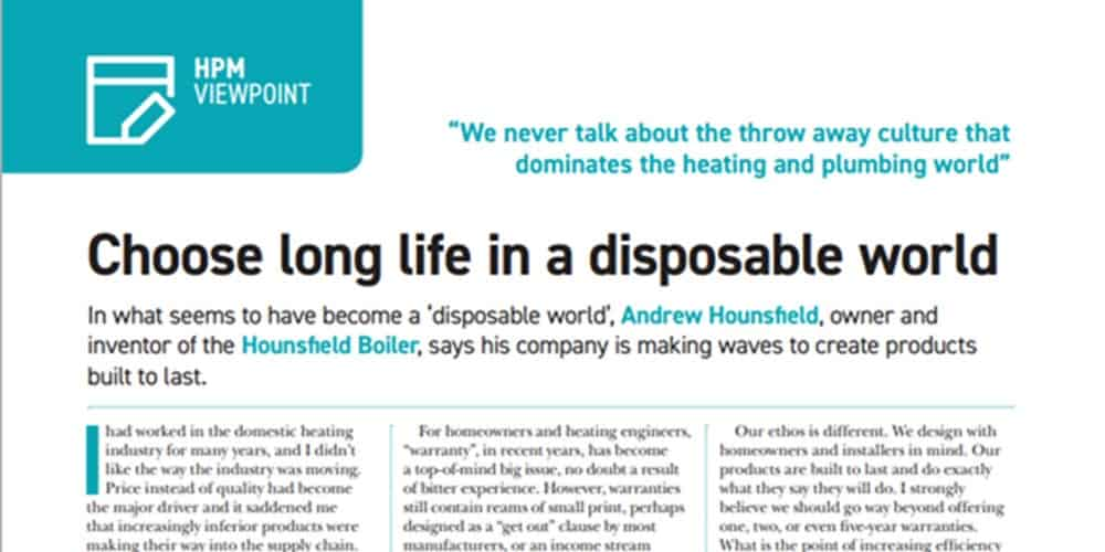 disposable heating and plumbing world article