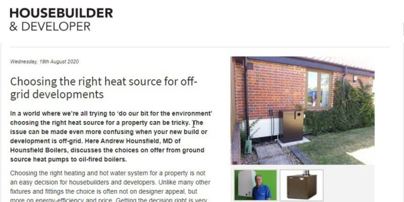 Choosing the right heat source for off grid developments