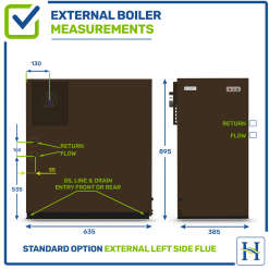 External boiler with left flue outlet, measurementsExternal boiler with left flue outlet, measurements