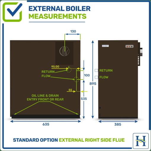 External boiler with right flue outlet, measurements