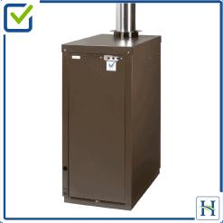 External oil boiler with top flue