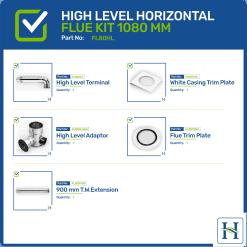 High Level Horizontal Flue Kit Options 1080mm