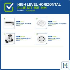 High Level Horizontal Flue Kit Options 155mm