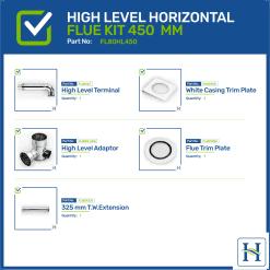 High Level Horizontal Flue Kit Options 450mm
