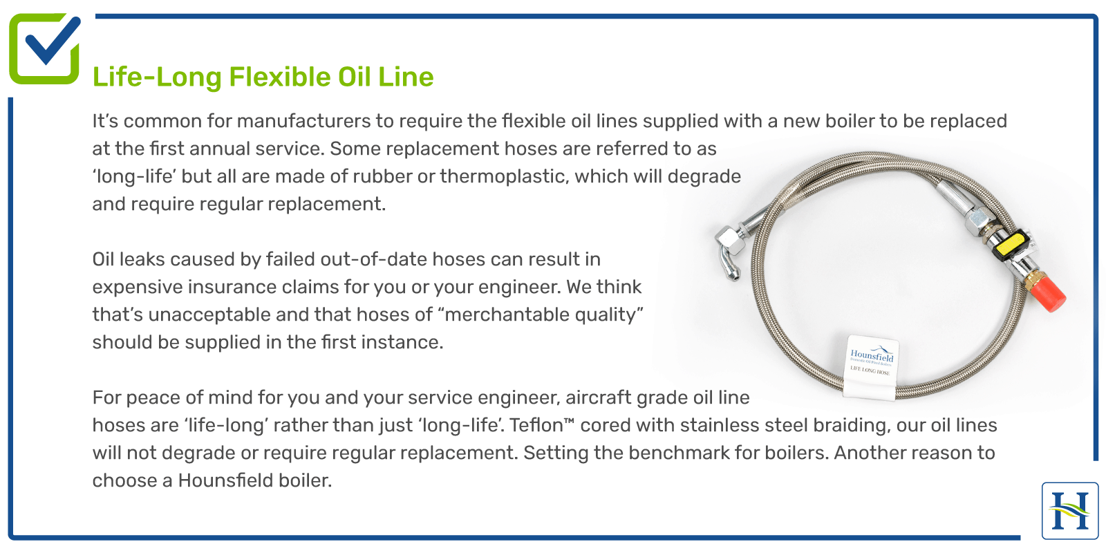 Life Long Flexible Oil Line for boiler